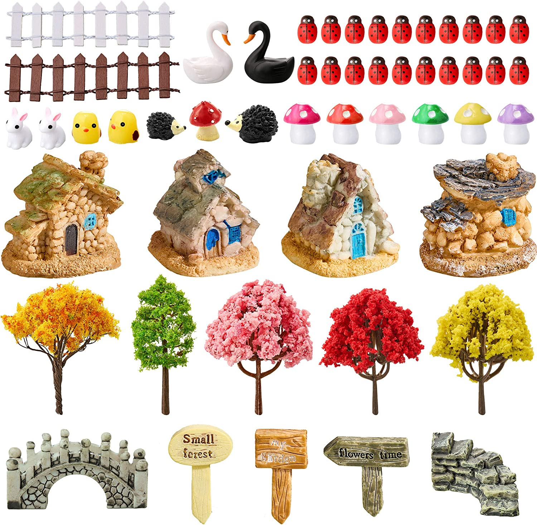 Fairy Miniature Ornament DIY Kit Miniature Fairy Garden Accessories Artificial Succulent Plants Miniature Fairy House, Fairy Garden Figurines Fairy Garden Animals for House Garden Decoration