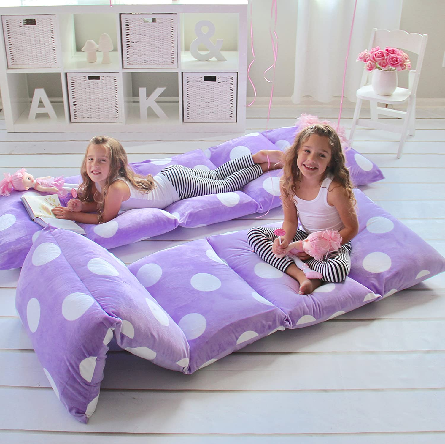 Pink Soft Plush,Perfect for Sleepovers Party,Lounger for Reading,Playing.Cover Only Kids Floor Pillow Bed Cover