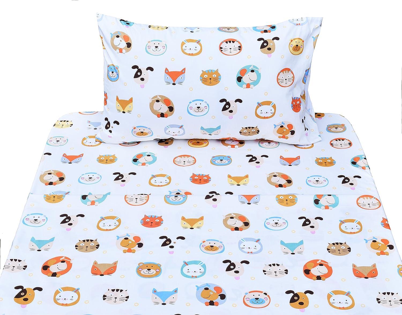 J-pinno Cute Animals Dogs Fox Cats Bunny Twin Sheet Set for Kids Boys Girls Children,100% Cotton, Flat Sheet + Fitted Sheet + Pillowcase Bedding Set