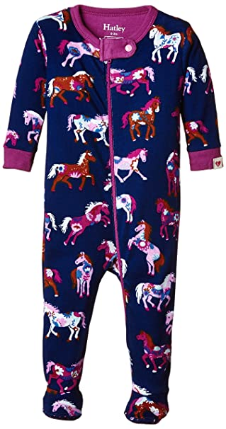 Hatley Infant Footed Coverall -Flower Horses - Pijama para bebés, color azul oscuro (