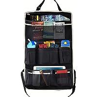 MoKo Multi-Poche Voiture Organisateur de Siège arrière, Pliable Voyage Sac de Rangement pour Livre / Bouteille / Cool Beer / Tissue Box / Jouets, Noir et Beige