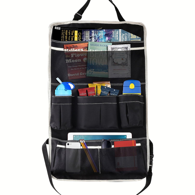 Moko Multi-Pocket Car Backseat Organizer, Kick Mat Seat Back Protector, Foldable Travel Storage Bag Holder for Book/Bottle/Cool Beer/Tissue Box/Toys (Black & Beige) MK-ZY