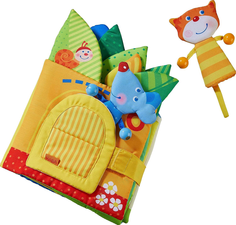 Stoffbuch ab 10 Monaten mit Reimen und vielen Spielelementen ideal als Babygeschenk HABA 304129 inklusive Katze und Maus als Fingerfiguren Bl/ätterh/äuschen