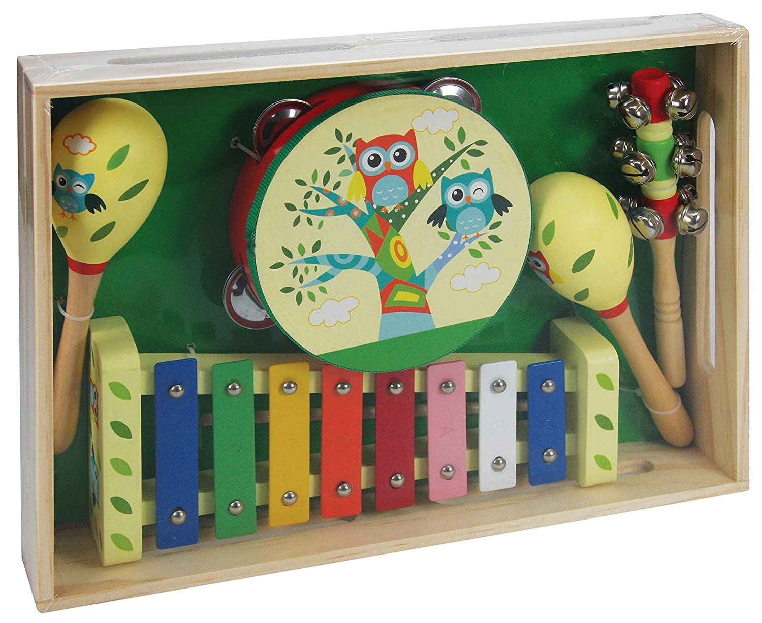 A B Gee LXS0167 Wooden Musical Instrument Set with Owl Design