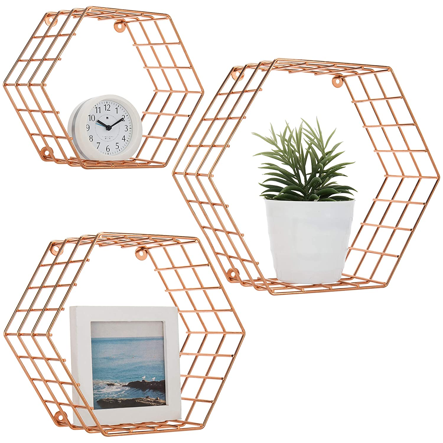 MyGift Hexagonal Copper-Tone Wire Wall-Mounted Hanging Shelves, Set of 3