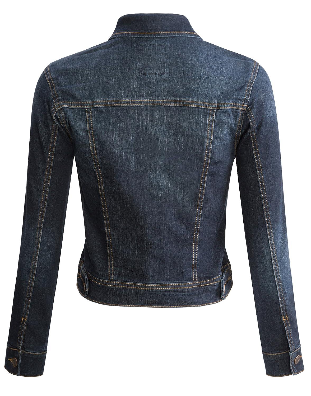 URBAN K Womens Long-Sleeve Distressed Button Up Denim Jean Jacket Regular /& Plus Size