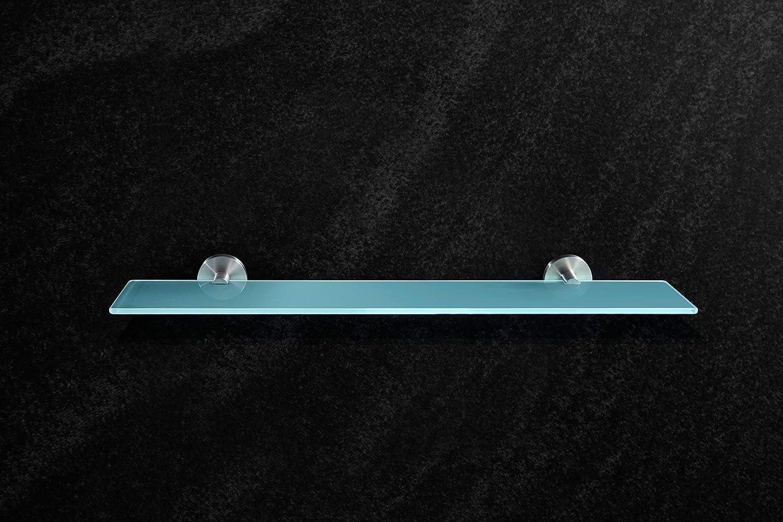 , 50 cm x 12 cm Ambrosya/® Bross/é Tablette exclusive en acier inoxydable et verre Salle de bain /étag/ère en verre support serviette murale Acier inoxydable