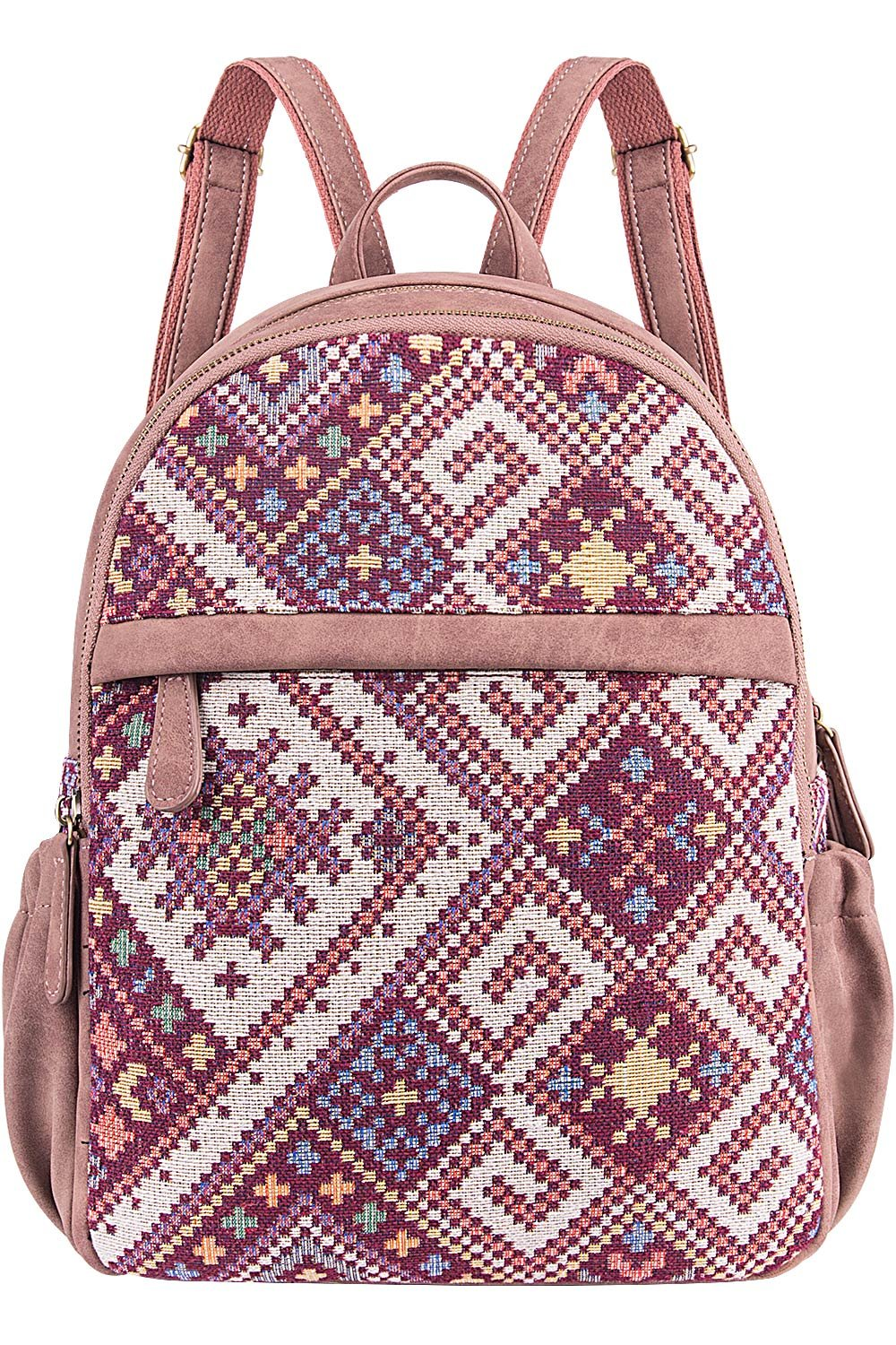 Cute Backpack for Women Canvas High School Daypack Casual Bookbags (Pink Plaid)