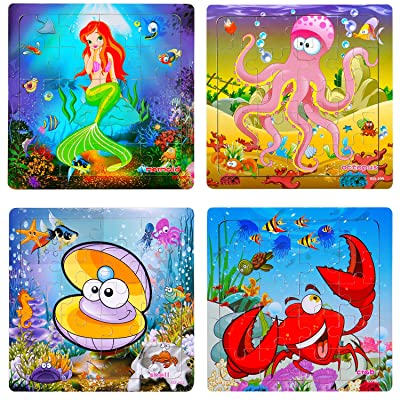 TOHIBEE Toddler Puzzles Wooden Jigsaw Puzzles for Toddlers Age 2-5 Year Old 20 Piece Animals Wooden Puzzles for Toddler Children Learning Educational Toddler Toys for Boys and Girls (4 Puzzles): Toys & Games