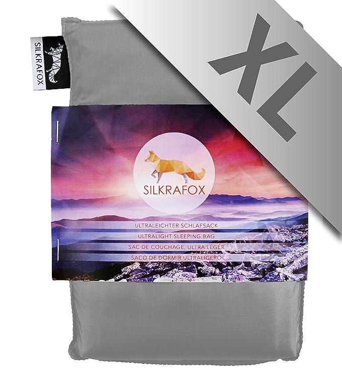 Silkrafox XL - Saco de dormir ultraligero para las excursiones de senderismo, ancho extragrande 95 cm, los viajes, las acampadas, seda artificial, ...