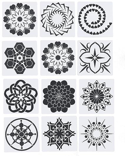 Amazon Com Floranea 12 Pcs Mandala Dotting Stencils Reusable