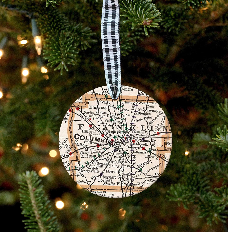 EricauBird Christmas Ornament-Columbus Ornament, Ohio Ornament, Columbus Map, Map Ornament, Columbus Gift, Ohio Gift, Columbus Ohio, Housewarming Gift, New Home Gift, Home Decor