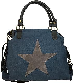 f09de0ed54f9a STERN Star Damen Tasche Canvas Stoff Fashion Shopper Henkeltasche  Schultertasche