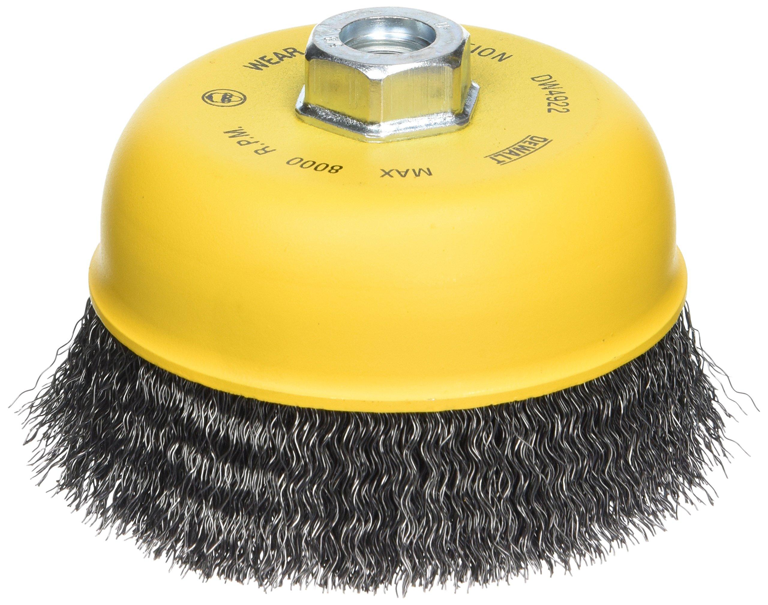 DEWALT DW4922 5-Inch Crimped Cup Brush/Carbon Steel 5/8-Inch-11 Arbor .020-Inch