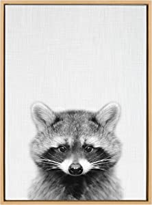 Kate and Laurel Sylvie Raccoon Black and White Portrait Framed Canvas Wall Art by Simon Te Tai, 23x33 Natural