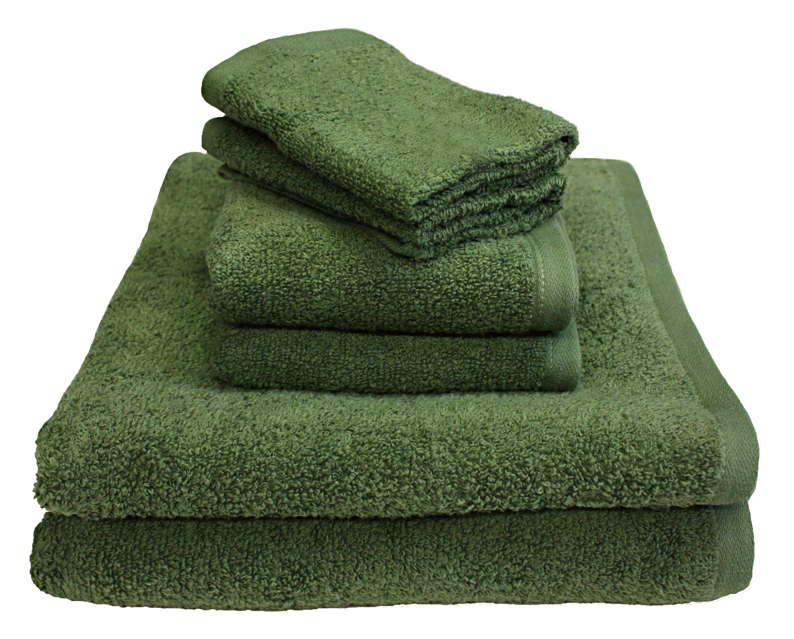 Luxury 6 Piece Cotton Bath Towel Set; 2 Bath Towels 27 x 52'', 2 Hand Towels 16 x 27''and 2 Washcloths 13 x 13'', Hotel & Spa Quality, Super Soft and Ultra Absorbent for Bathroom & Washroom-Thyme Green
