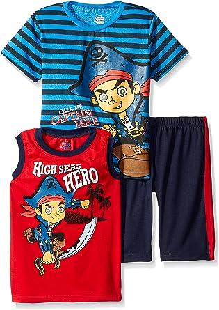 Disney Boys 3 Piece Captain Jake T-Shirt and Muscle Tee Shorts Set