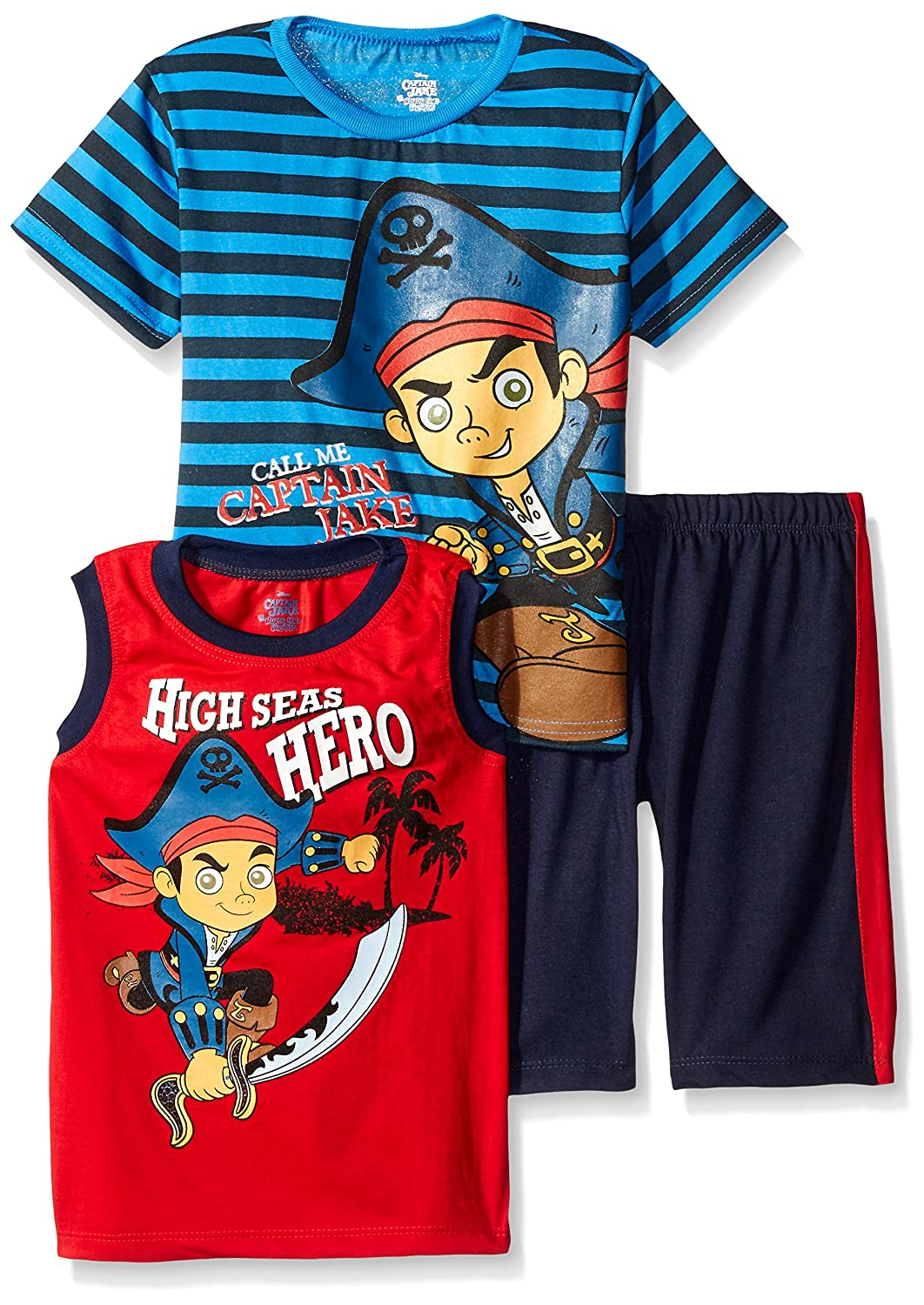 Disney Boys' 3 Piece Captain Jake T-Shirt and Muscle Tee Shorts Set 907
