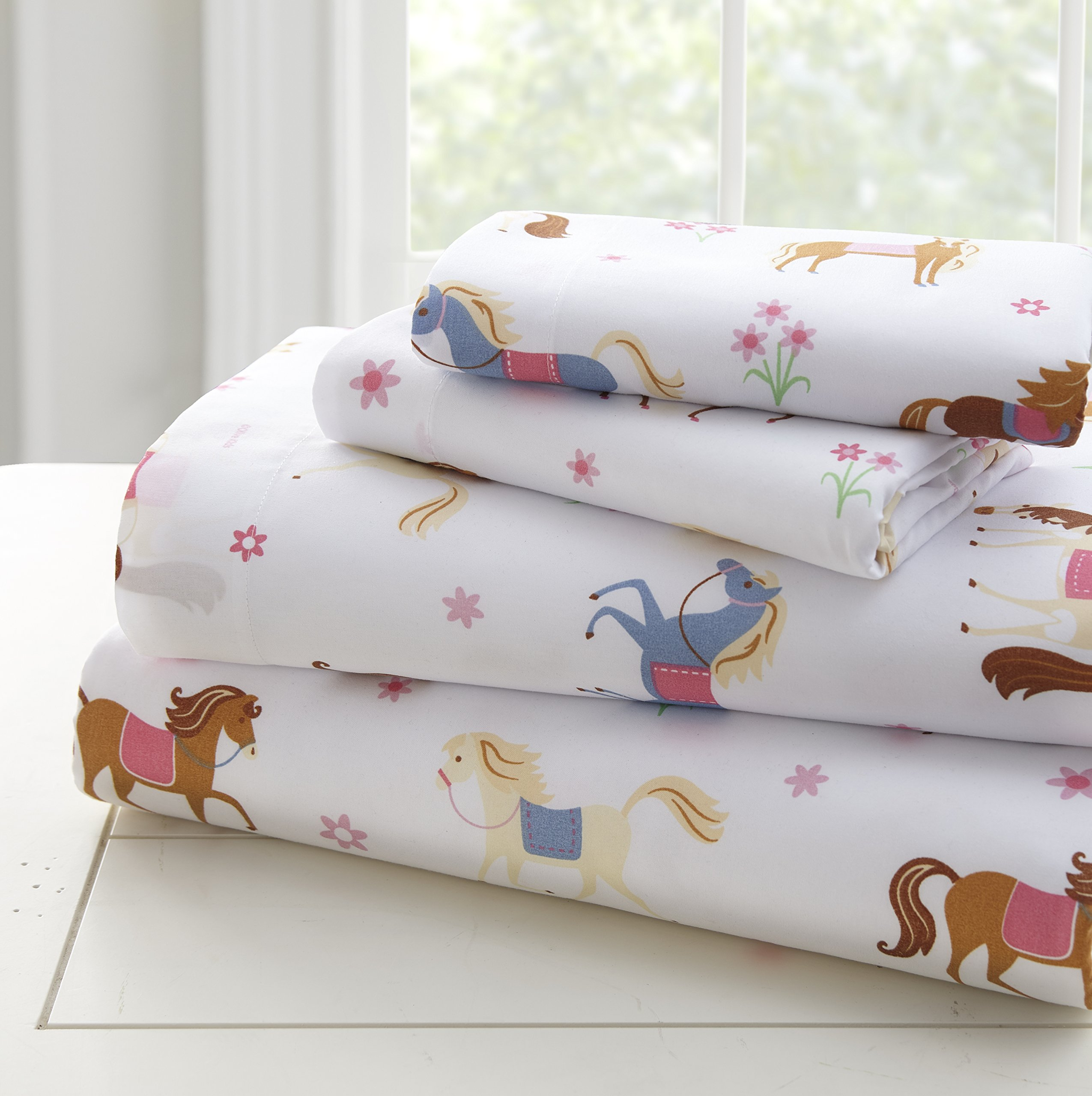 Wildkin Microfiber Twin Sheet Set, Includes Top Sheet, Fitted Sheet, and Pillow Case Olive Kids Design - Horses, Multicolor, One Size