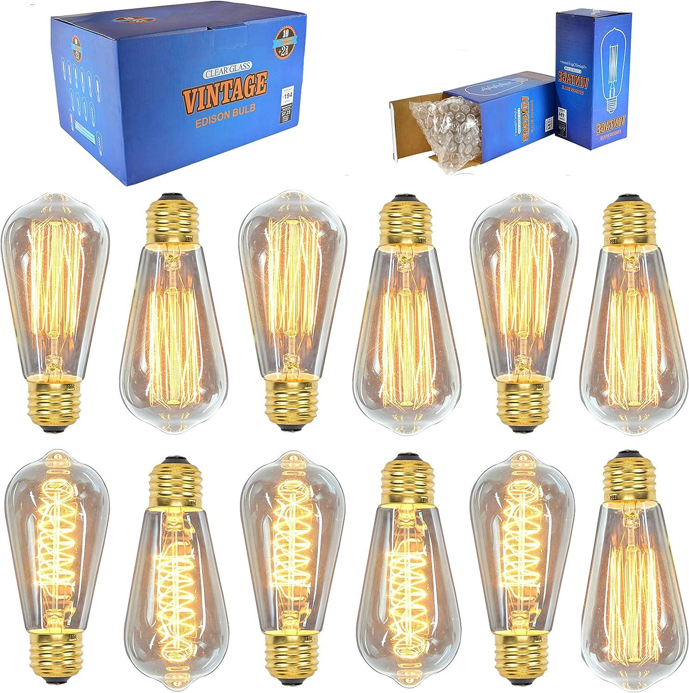 vsds Vintage Retro DIY Spiral Incandescent Handmade Fixtures Glass incandecent Edison Bulb 40W 110-240V-brass/_Holder/_3