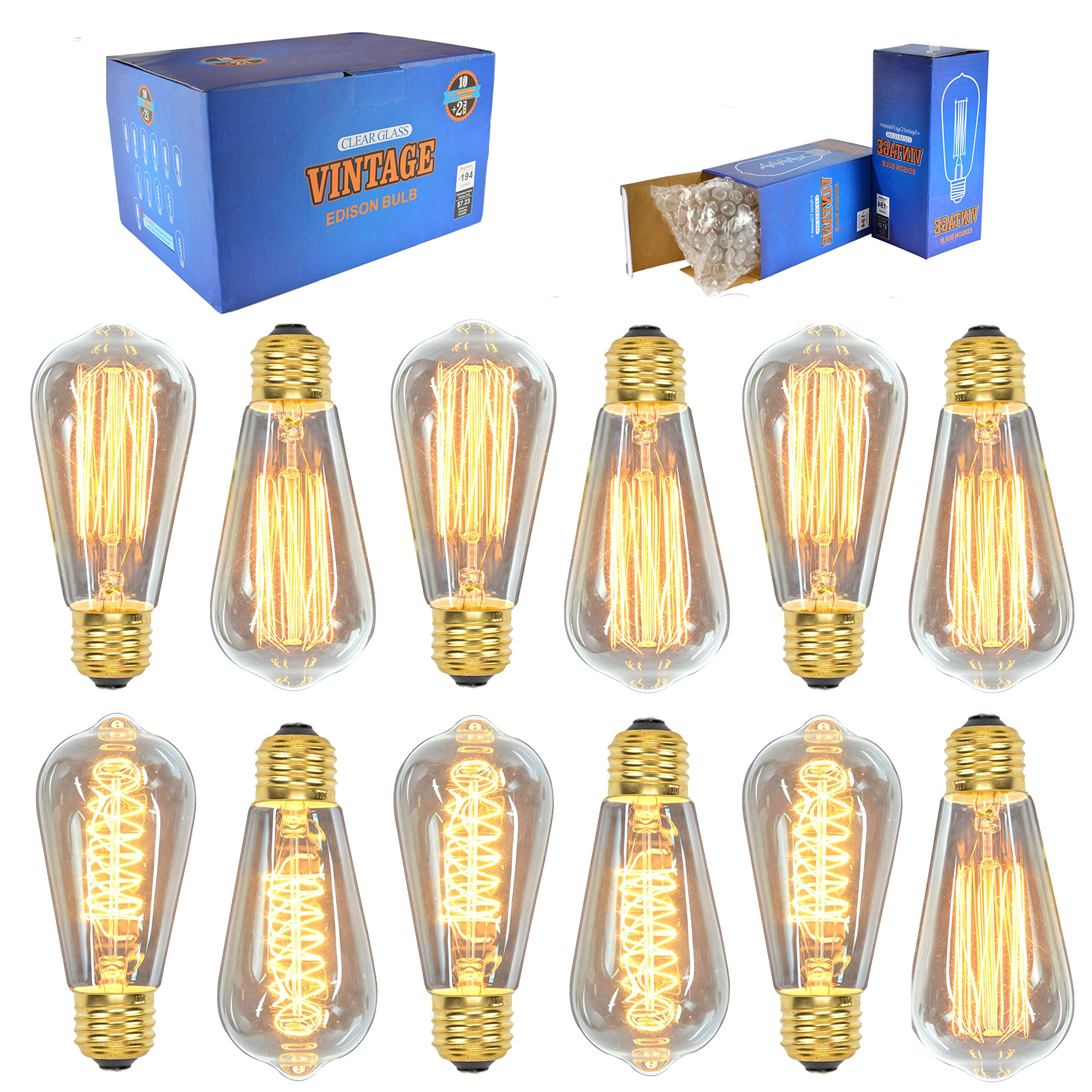 Vintage Edison Bulbs (12 Pack, 7 Squirrel Cage Filament Bulbs , 5 Spiral Filament Bulbs), 60W, ST64, E26, Squirrel Cage, Dimmable,Clear Glass, Industrial Vintage Bulbs