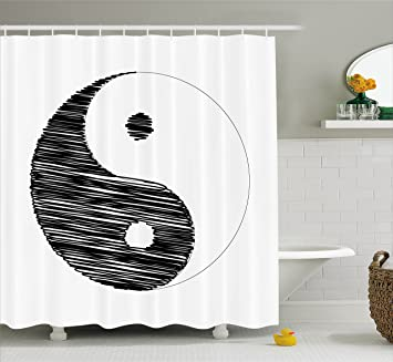 Ambesonne Ying Yang Decor Collection Sketchy Style Yin Pattern Active And Passive Power Of