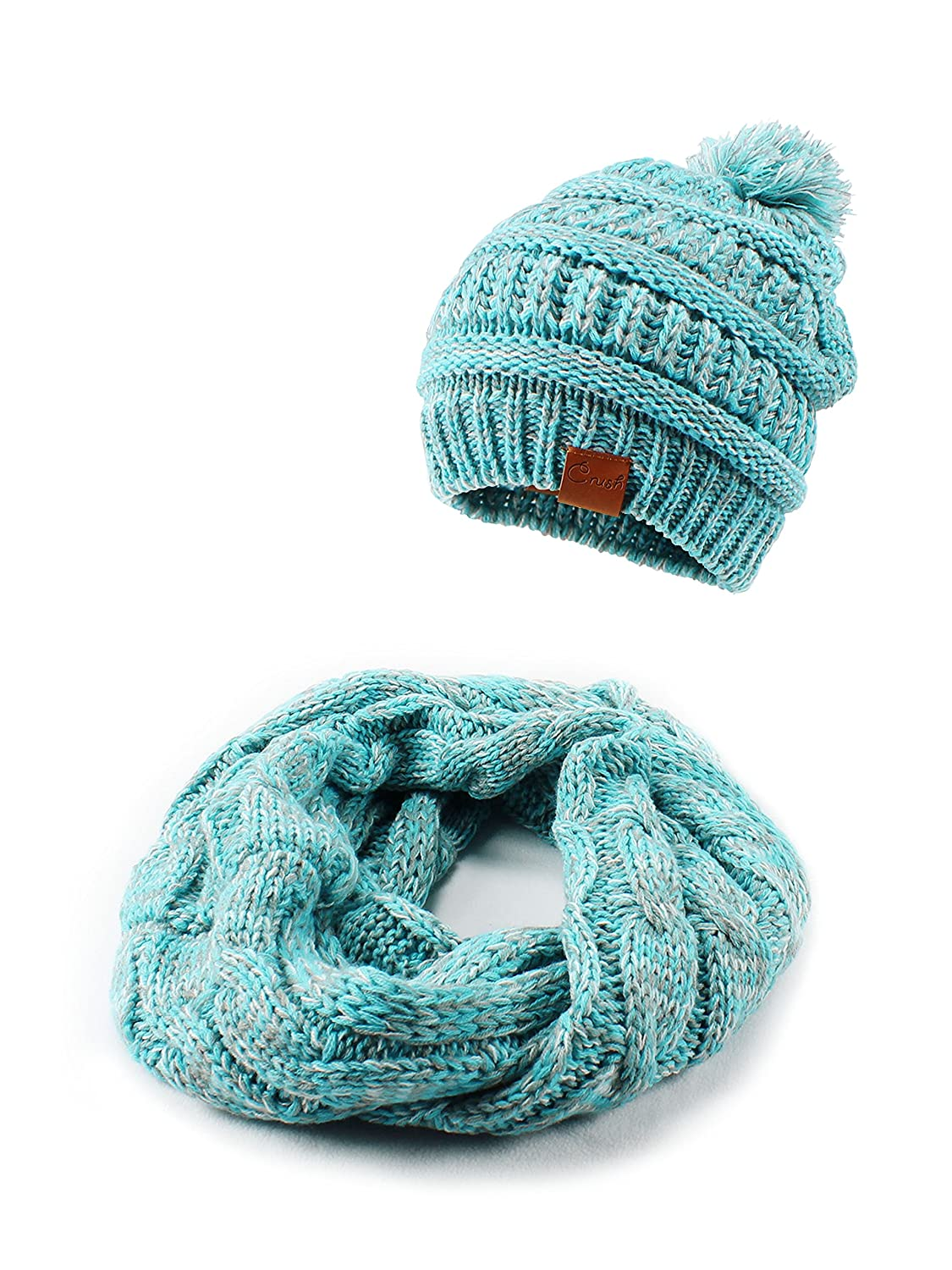 Crush Kids Girls Knit Beanie Hat and Scarf Set One Size Fits Most See More Colors