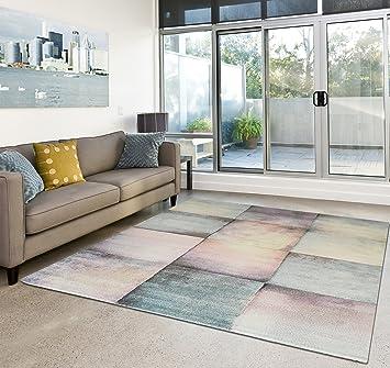 Moderner Teppich Wohnzimmer Kurzflor Dream Pastell Farben   Schadstofffrei    Bunt   160x230 Cm