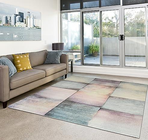 Amazon.de: Moderner Teppich Wohnzimmer Kurzflor Dream Pastell ...