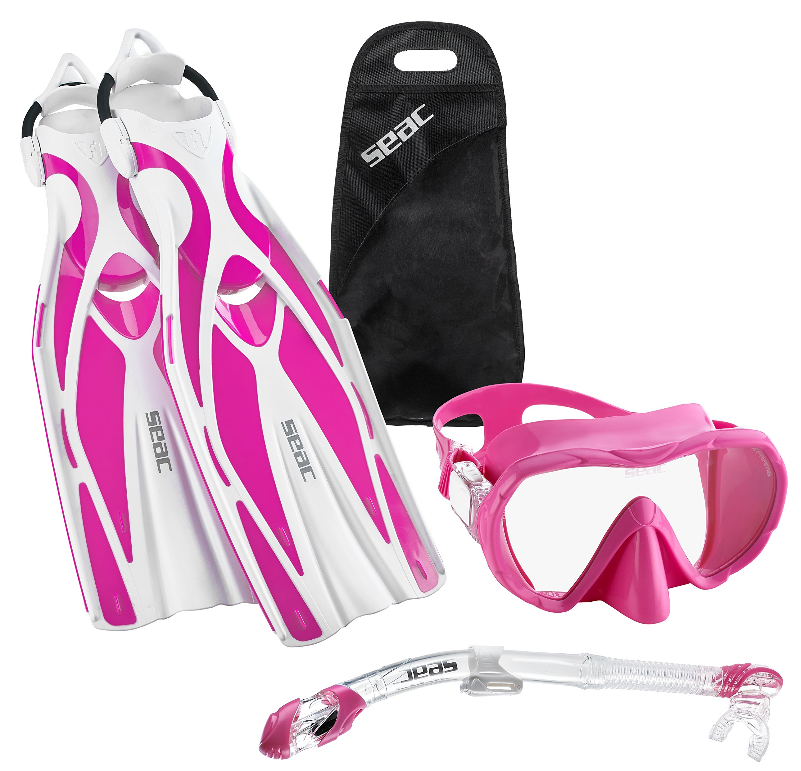 SEAC Frameless Scuba Mask Fin Snorkel Set, Pink, Small/Medium