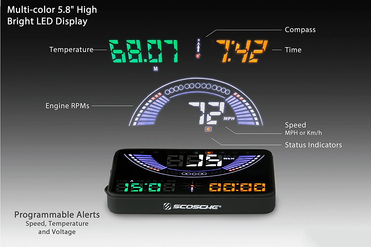 "Scosche HUD58OGC 5.8/"" Heads-up Multi-Color LED Display for Any Vehicle with an OBD-II or 12V Power Socket"