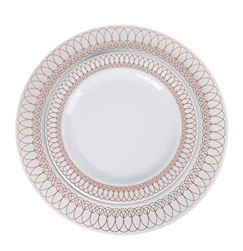 60-Pack of Luxury Disposable Plastic Plates for Upscale Parties- 30x10.25\u0026quot;  sc 1 st  Amazon.com & Amazon.com: 60-Pack of Luxury Disposable Plastic Plates for Upscale ...