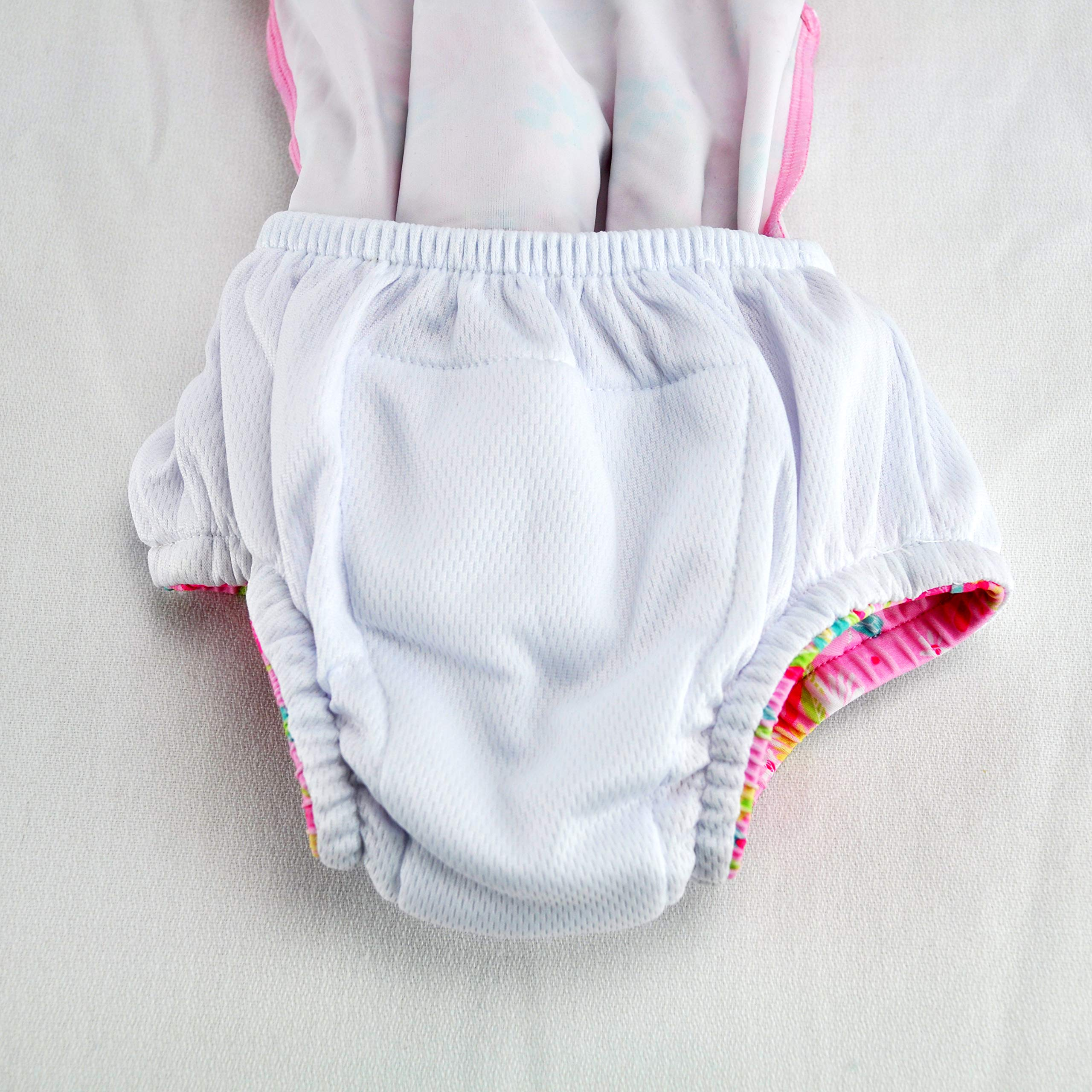 i play. Baby Girls 1pc Ruffle Swimsuit with Built-in Reusable Absorbent Swim Diaper, White Flower Patch, 6mo by i play. (Image #6)