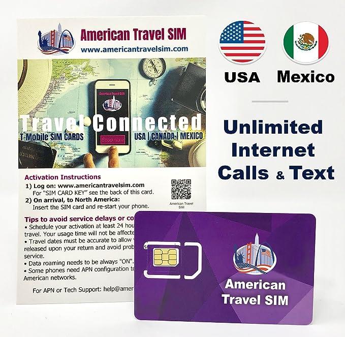 Tarjeta SIM Prepago - EE. UU. Y México, Datos de Internet ilimitados, Llamadas ilimitadas y texto: Amazon.es: Electrónica