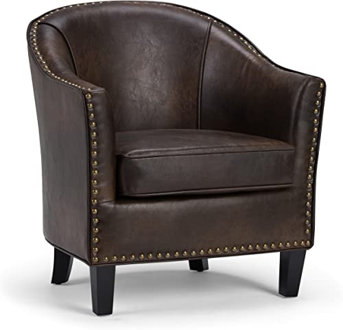 Simpli Home AXCTUB-004-DBR Kildare 29 inch Wide Transitional Tub Chair in Distressed Brown Bonded Leather