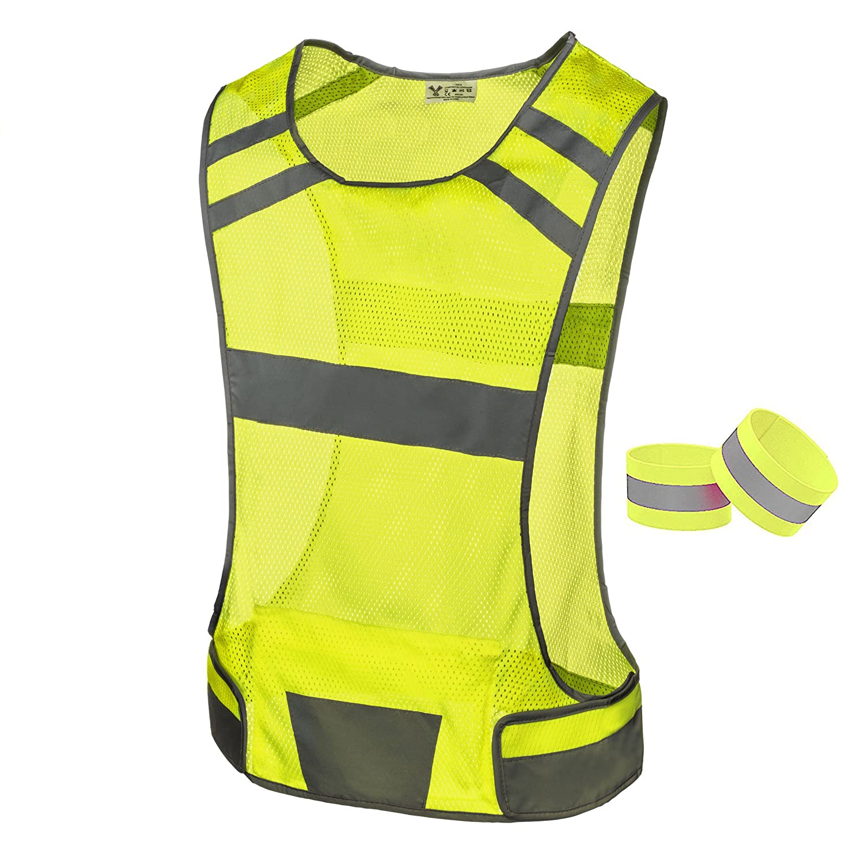 247 Viz Reflective Running Vest Gear Stay Visible Safe Ultra Light Comfortable Motorcycle Reflective Vest Large Pocket Adjustable Waist Safety Vest Free Bands
