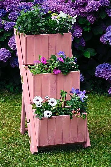 dobar Escalera Plegable para diseño Individual, 3 jardineras separadas, Incluye lámina para Plantas, Escalera para Flores, Rosa Claro, 41 x 55 x 85 cm: Amazon.es: Jardín