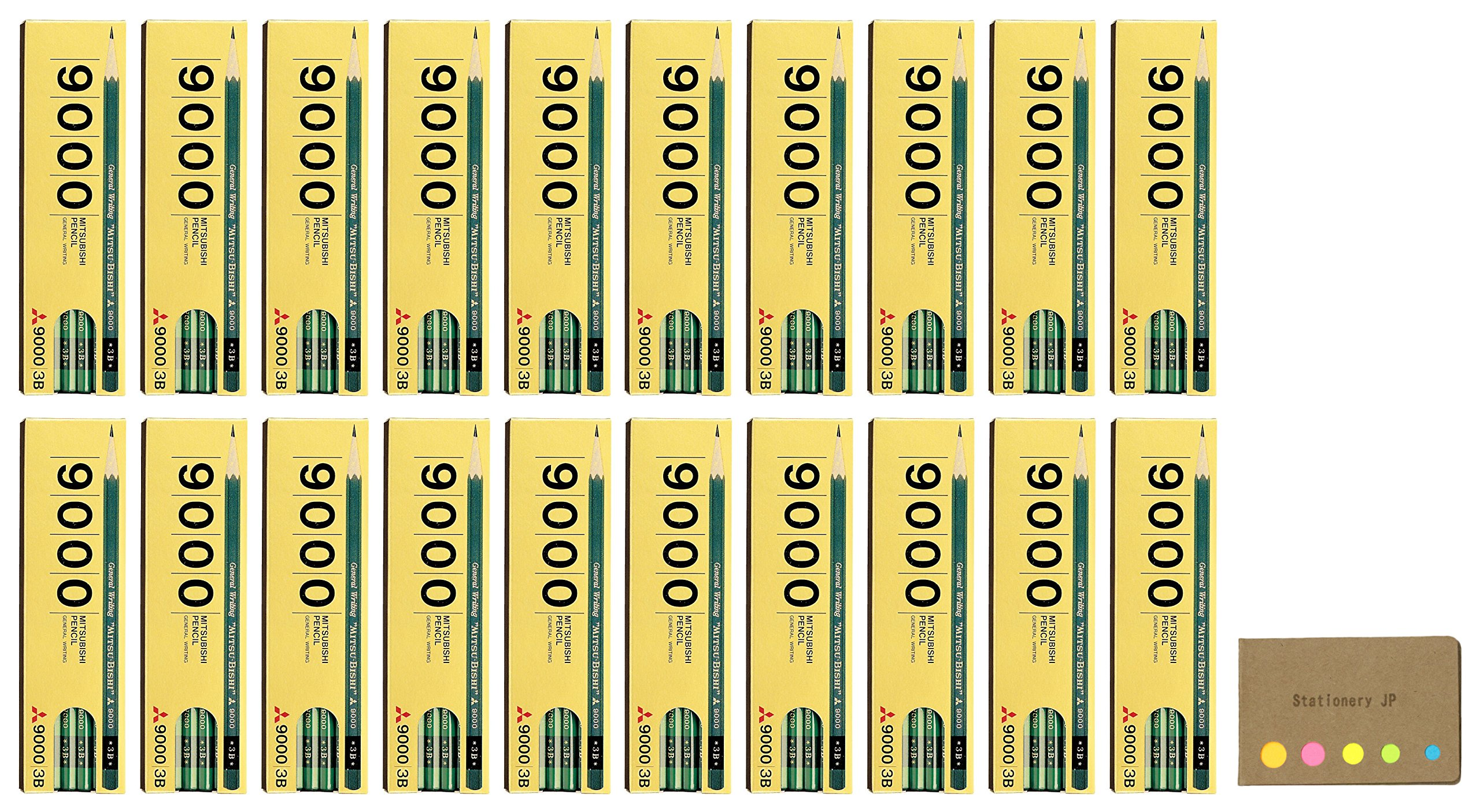 Uni Mitsubishi 9000 Pencil, 3B, 20-pack/total 240 pcs, Sticky Notes Value Set by Stationery JP (Image #1)