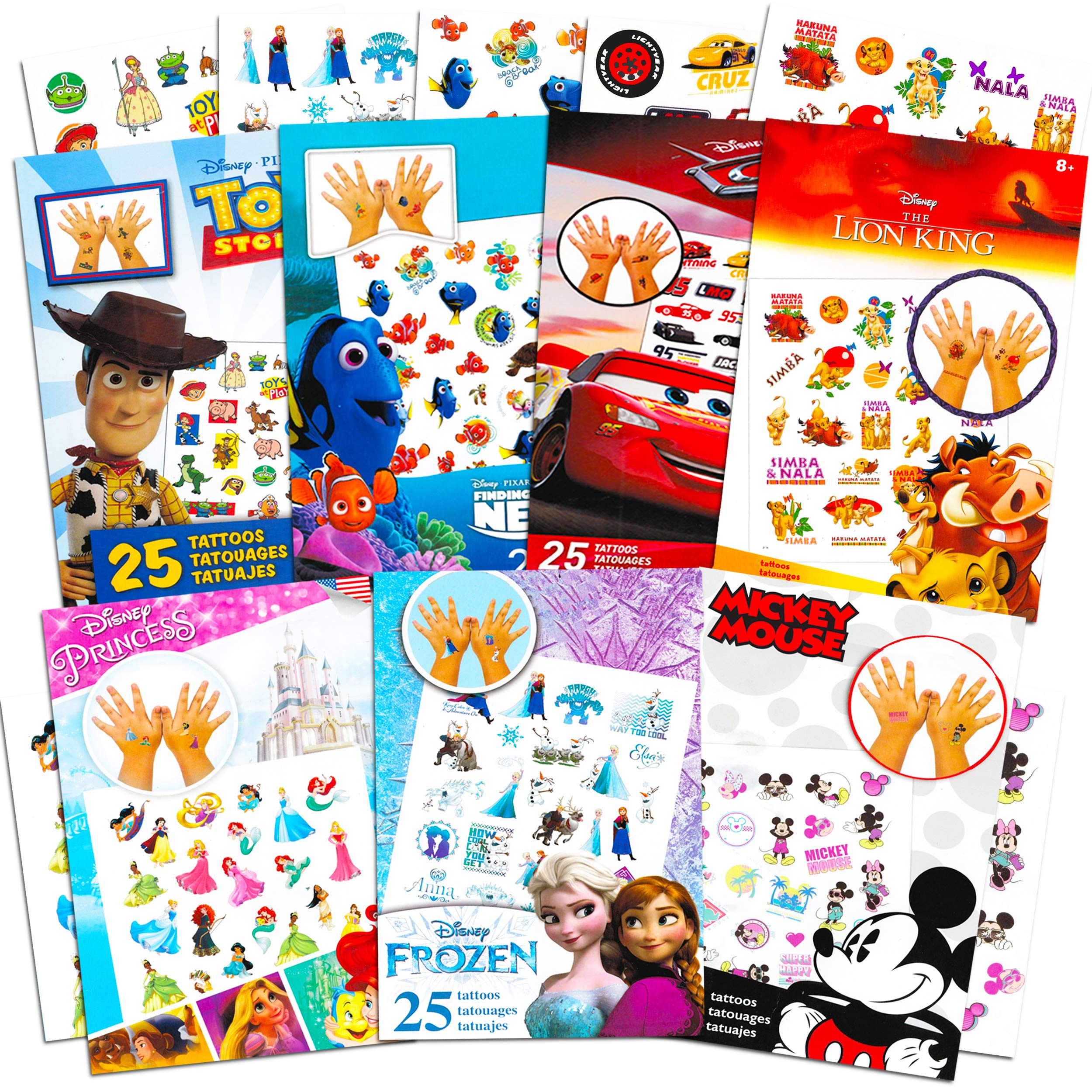 Disney Tattoos Party Favors Mega Assortment ~ Bundle Includes 7 Disney Favorites Temporary Tattoo Packs Featuring Disney Princess, Toy Story, Frozen, Cars, Lion King and More (Over 175 Tattoos!)