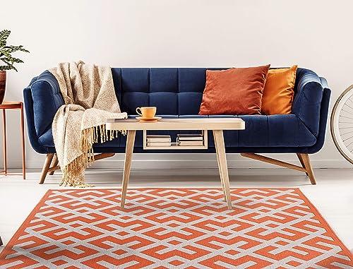 HOMEGNOME Indoor Outdoor Geometric Garden Rug 8 x10 Orange