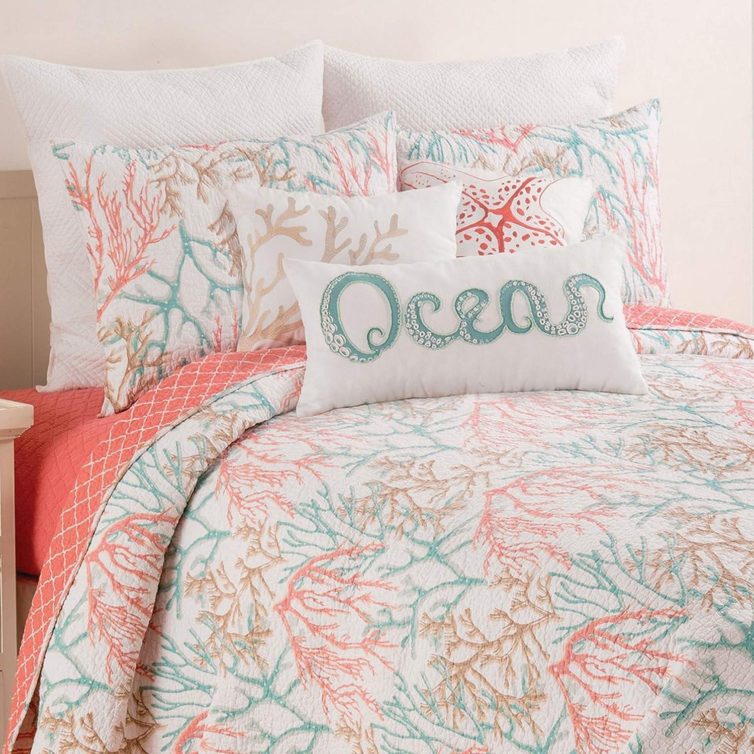 C&F Home Oceanaire Seafoam Full/Queen Quilt Set Oversized Cotton Beach Ocean Coastal Reef Bedspread Coverlet 3 Piece with 2 Shams