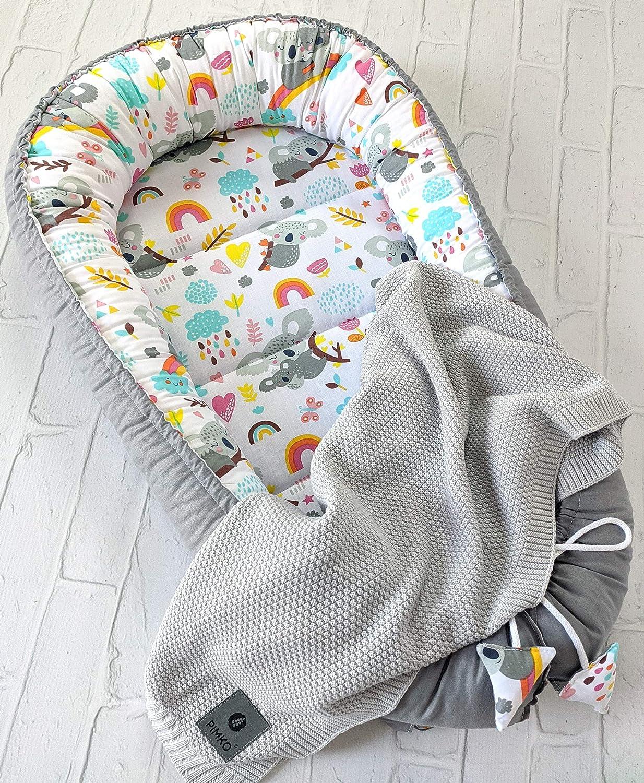 PIMKO 5tlg Babynest 55x90 Babydecke Kissen Baby- Matratze Schmeterrling-Kissen Nestchen f/ür Babys 100/% Baumwolle Super Weich Babynest Baby Kuschelnest-Set inkl Mocca