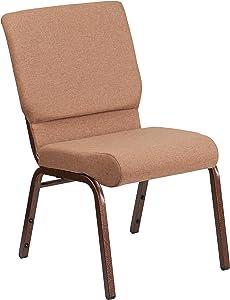 Flash Furniture HERCULES Series 18.5''W Stacking Church Chair in Caramel Fabric - Copper Vein Frame
