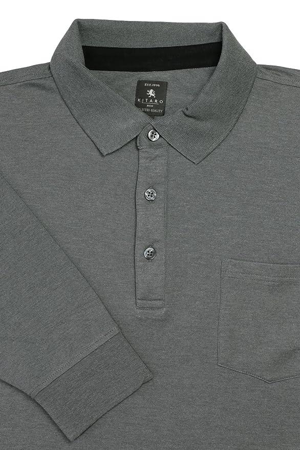 Klassisches Herren langarm Polo mit Bündchen von Kitaro, schwarz   Amazon.de  Bekleidung 542a39a333