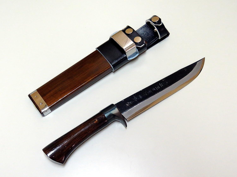 AZUMASYUSAKU HONMAMON Japanese Kurouchi Hunting Knife 180mm, Aogami Steel, Double Bevel