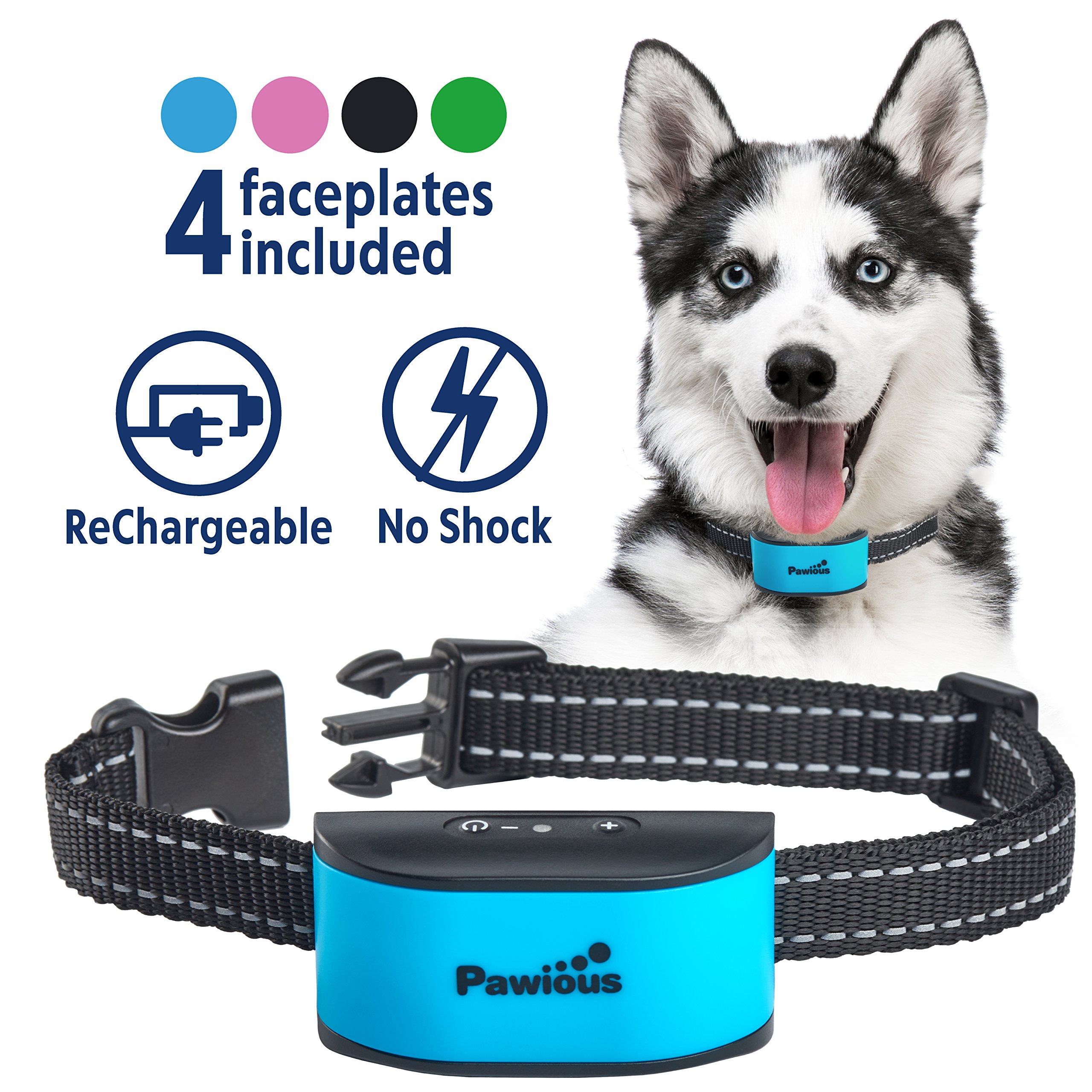 Bark Collar for Small Dogs - Humane No Shock Rechargeable Anti Barking Collar - 4 Color Faceplates, No Harmful Prongs, Sound, Vibration, 7 Sensitivity Levels by Pawious