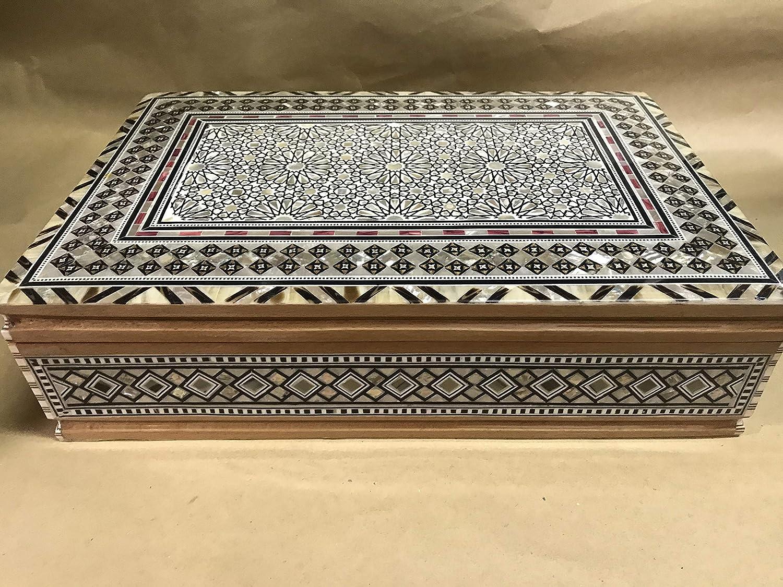 Handmade Islamic Mother of Pearl Mosaic Inlaid Wood Jewelry Box Egyptian