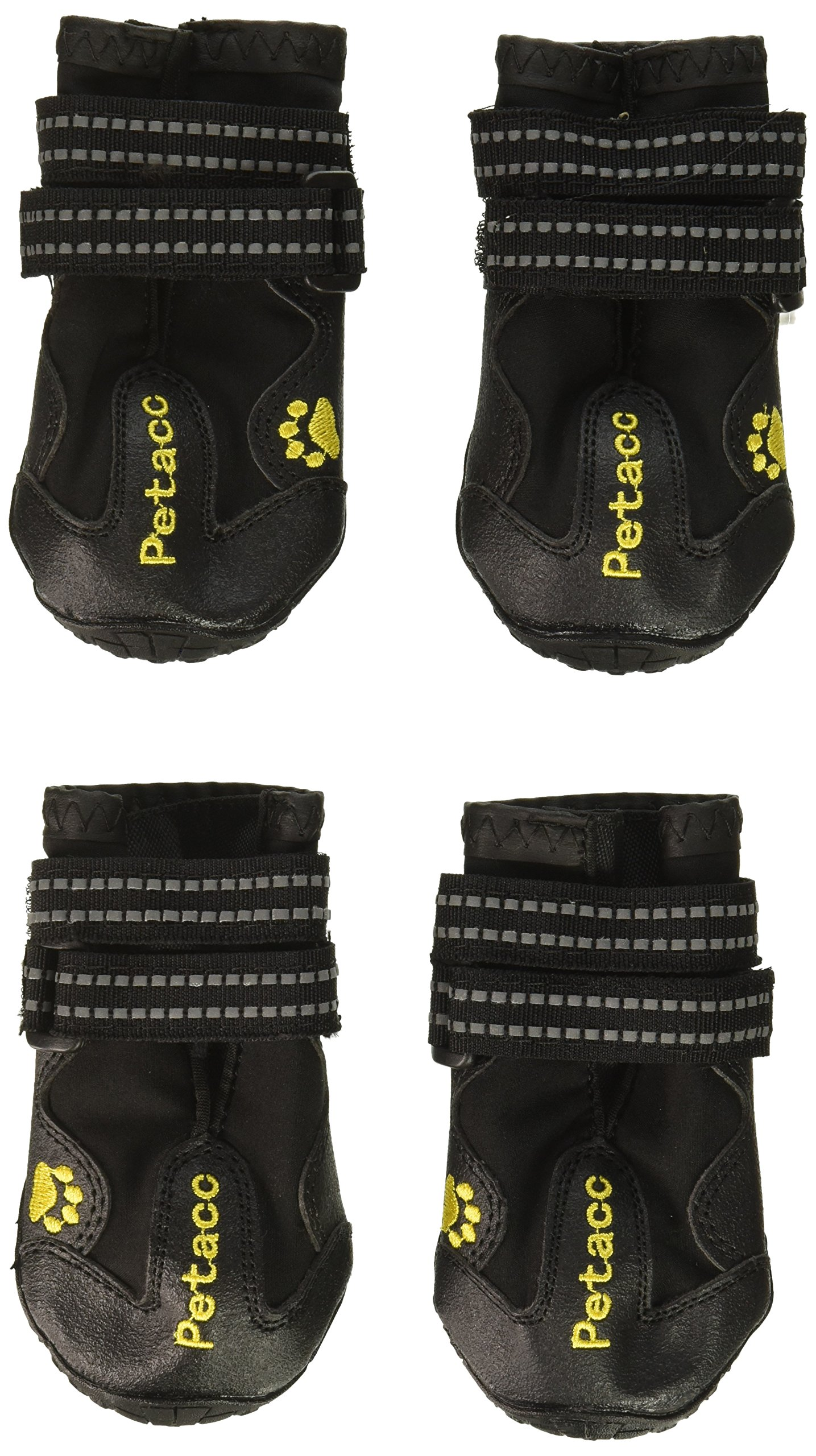 Petacc Dog Boots Water Resistant Dog Shoes for Large Dogs and Black Labrador 4 Pcs in Size 4 Black