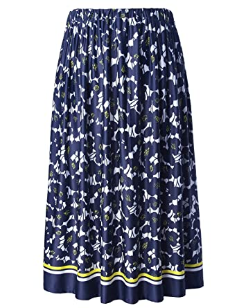 86c145b5db4 Chicwe Women s Plus Size Flared Floral Calf Length Skirt with Elastic Waist  Navy 1X