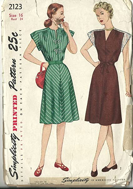 Amazon com: Simplicity vintage 1940s sewing pattern 2123